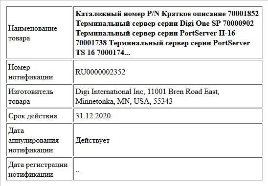 Каталожный номер P/N Краткое описание 70001852 Терминальный сервер серии Digi One SP 70000902 Терминальный сервер серии PortServer II-16 70001738 Терминальный сервер серии PortServer TS 16 7000174...