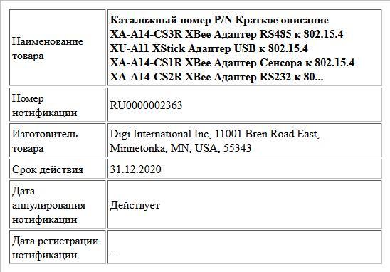 Каталожный номер P/N Краткое описание XA-A14-CS3R ХВее Адаптер RS485 к 802.15.4 XU-A11 XStick Адаптер USB к 802.15.4 XA-A14-CS1R ХВее Адаптер Сенсора к 802.15.4 XA-A14-CS2R ХВее Адаптер RS232 к 80...