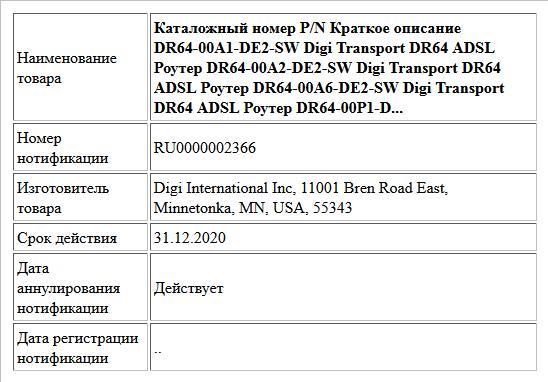 Каталожный номер P/N Краткое описание DR64-00A1-DE2-SW Digi Transport DR64 ADSL Роутер DR64-00A2-DE2-SW Digi Transport DR64 ADSL Роутер DR64-00A6-DE2-SW Digi Transport DR64 ADSL Роутер DR64-00P1-D...