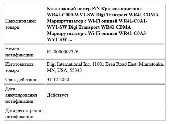 Каталожный номер P/N Краткое описание WR41-C000-WV1-SW Digi Transport WR41 CDMA Маршрутизатор с Wi-Fi опцией WR41-C0A1-WV1-SW Digi Transport WR41 CDMA Маршрутизатор с Wi-Fi опцией WR41-C0A3-WV1-SW ...