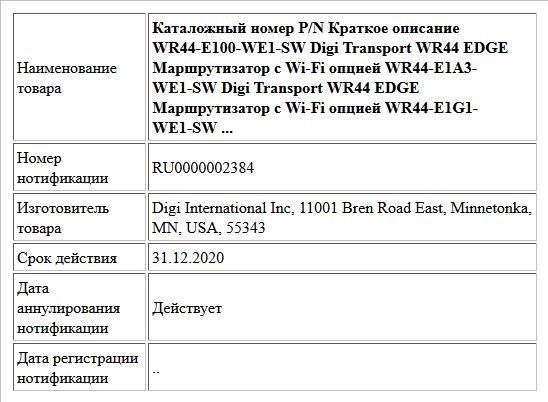 Каталожный номер P/N Краткое описание WR44-E100-WE1-SW Digi Transport WR44 EDGE Маршрутизатор с Wi-Fi опцией WR44-E1A3-WE1-SW Digi Transport WR44 EDGE Маршрутизатор с Wi-Fi опцией WR44-E1G1-WE1-SW ...