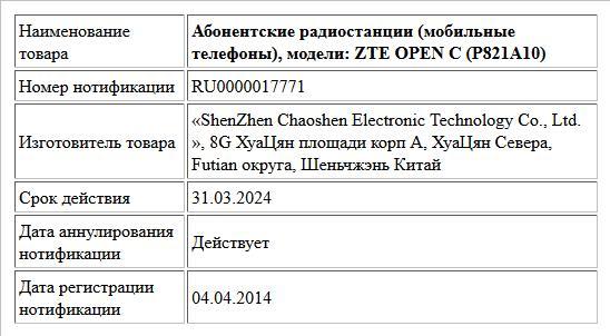 Абонентские радиостанции (мобильные телефоны), модели: ZTE OPEN C (P821A10)