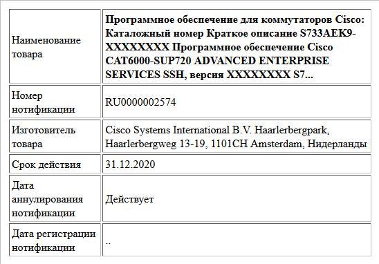 Программное обеспечение для коммутаторов Cisco: Каталожный номер Краткое описание S733AEK9-XXXXXXXX Программное обеспечение Cisco CAT6000-SUP720 ADVANCED ENTERPRISE SERVICES SSH, версия XXXXXXXX S7...
