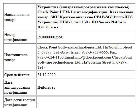 Устройства (аппаратно-программные комплексы) Check Point UTM-1 и их модификации: Каталожный номер, SKU  Краткое описание  CPAP-SG13xxxx-RUS Устройство UTM-1, тип 130 с ПО SecurePlatform R70.20  и па...
