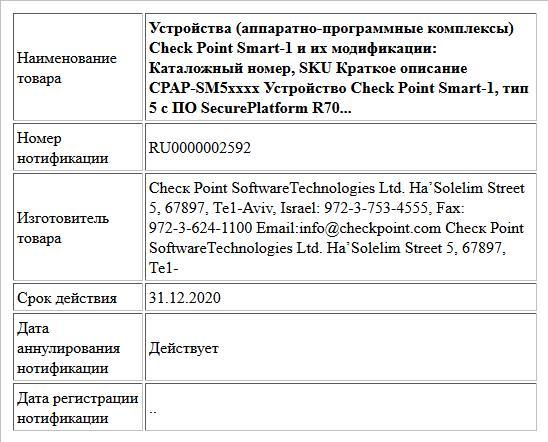 Устройства (аппаратно-программные комплексы) Check Point Smart-1 и их модификации: Каталожный номер, SKU  Краткое описание  CPAP-SM5xxxx Устройство Check Point Smart-1, тип 5 с ПО SecurePlatform R70...
