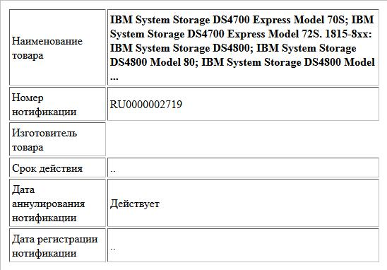 IBM System Storage DS4700 Express Model 70S; IBM System Storage DS4700 Express Model 72S. 1815-8xx: IBM System Storage DS4800; IBM System Storage DS4800 Model 80; IBM System Storage DS4800 Model ...