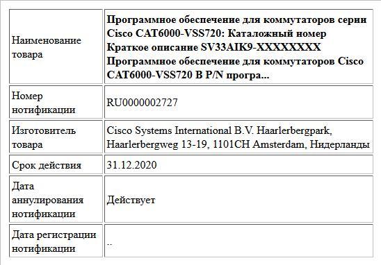 Программное обеспечение для коммутаторов серии Cisco CAT6000-VSS720: Каталожный номер Краткое описание SV33AIK9-XXXXXXXX Программное обеспечение для коммутаторов Cisco CAT6000-VSS720   В P/N програ...