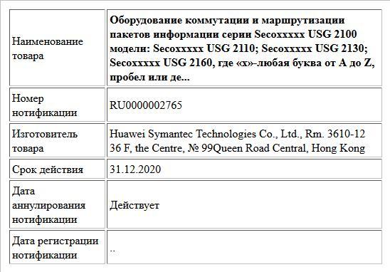 Оборудование коммутации и маршрутизации пакетов информации серии Secoxxxxx USG 2100 модели: Secoxxxxx USG 2110; Secoxxxxx USG 2130; Secoxxxxx USG 2160, где «х»-любая буква от А до Z, пробел или де...