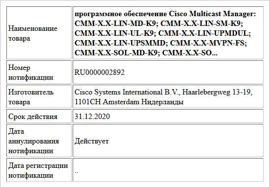 программное обеспечение Cisco Multicast Manager: CMM-X.X-LIN-MD-K9; CMM-X.X-LIN-SM-K9; CMM-X.X-LIN-UL-K9; CMM-X.X-LIN-UPMDUL; CMM-X.X-LIN-UPSMMD; CMM-X.X-MVPN-FS; CMM-X.X-SOL-MD-K9; CMM-X.X-SO...