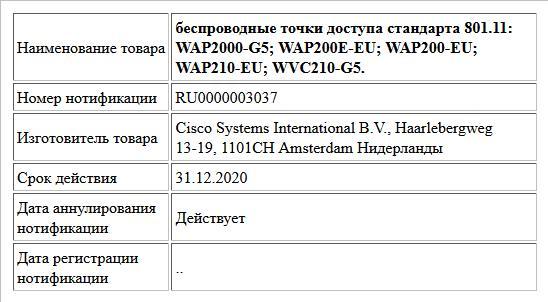 беспроводные точки доступа стандарта 801.11: WAP2000-G5; WAP200E-EU;  WAP200-EU; WAP210-EU; WVC210-G5.