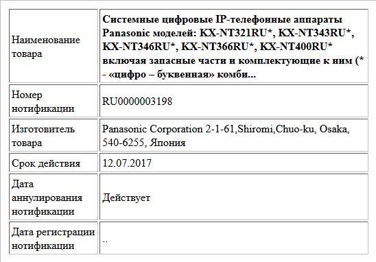 Системные цифровые IP-телефонные аппараты Panasonic моделей: KX-NT321RU*, KX-NT343RU*, KX-NT346RU*, KX-NT366RU*, KX-NT400RU* включая запасные части и комплектующие к ним (* - «цифро – буквенная» комби...