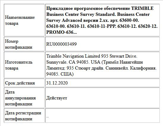 Прикладное программное обеспечение TRIMBLE Business Center Survey Standard. Business Center Survey Advanced версии 2.xx. apт. 63600-00. 63610-00. 63610-11. 63610-11-PPP. 63610-12. 63620-12. PROMO-636...