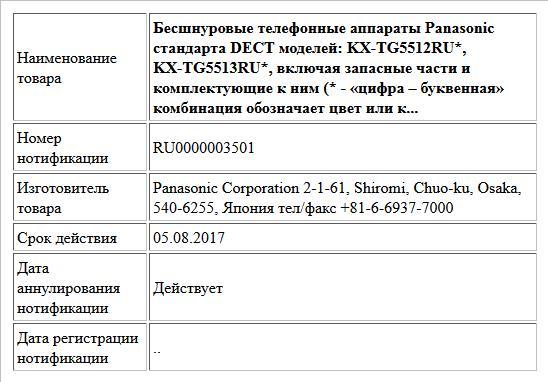 Бесшнуровые телефонные аппараты Panasonic стандарта DECT моделей: KX-TG5512RU*,  KX-TG5513RU*, включая запасные части и комплектующие к ним (* - «цифра – буквенная» комбинация обозначает цвет или к...
