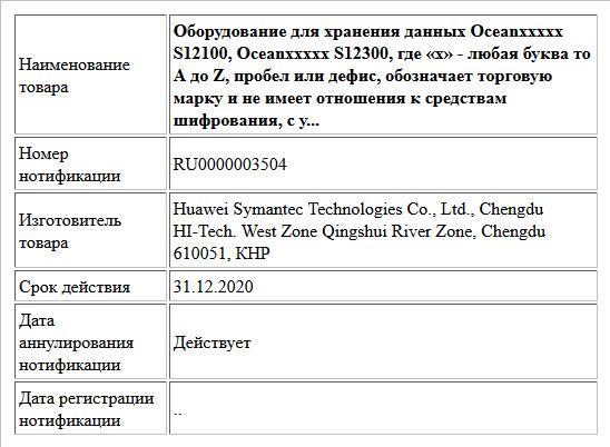 Оборудование для хранения данных  Oceanxxxxx S12100,  Oceanxxxxx S12300, где «x» - любая буква то A до Z, пробел или дефис, обозначает торговую марку и не имеет отношения к средствам шифрования, с у...