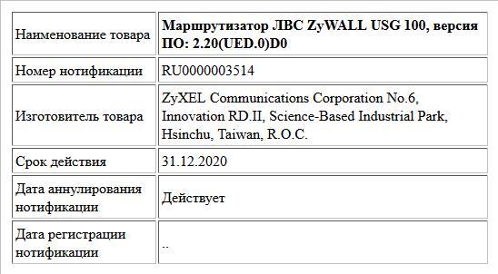 Маршрутизатор ЛВС ZyWALL USG 100, версия ПО: 2.20(UED.0)D0