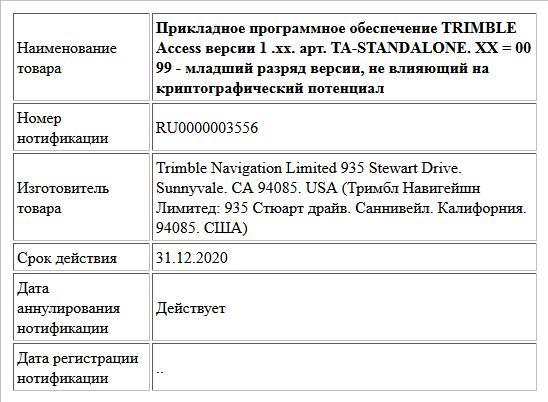 Прикладное программное обеспечение TRIMBLE Access версии 1 .хх. арт. TA-STANDALONE. XX = 00 99 - младший разряд версии, не влияющий на криптографический потенциал