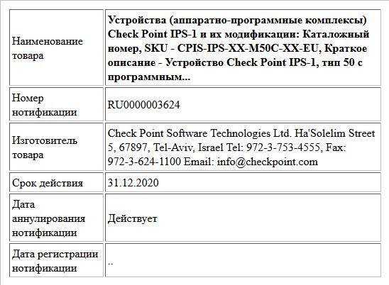 Устройства (аппаратно-программные комплексы) Check Point IPS-1 и их модификации: Каталожный номер, SKU - CPIS-IPS-XX-M50C-XX-EU, Краткое описание - Устройство Check Point IPS-1, тип 50 с программным...