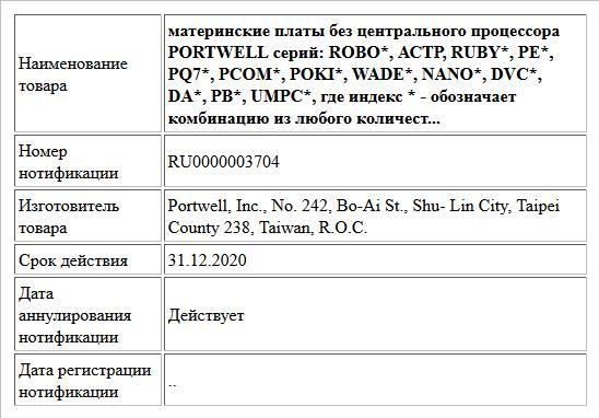 материнские платы без центрального процессора PORTWELL серий: ROBO*, АСТР, RUBY*, РЕ*, PQ7*, РСОМ*, POKI*, WADE*, NANO*, DVC*, DA*, РВ*, UMPC*, где индекс * - обозначает комбинацию из любого количест...