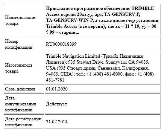 Прикладное программное обеспечение TRIMBLE Access версии 20xx.yy, арт. TA-GENSURV-P, TA-GENSURV-WIN-P, а также диспетчер установки Trimble Access (все версии); где xx = 11 ? 19,  yy = 00 ? 99 – старши...