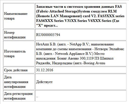 Запасные части к системам хранения данных FAS (Fabric-Attached Storage)System смодулем RLM (Remote LAN Management) card V2. FAS3XXX series FAS6XXX Series V31XX Series V6XXX Series (Где