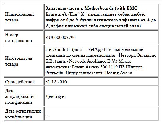 Запасные части к Motherboards (with ВМС firmware). (Где