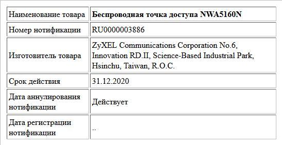 Беспроводная точка доступа NWA5160N