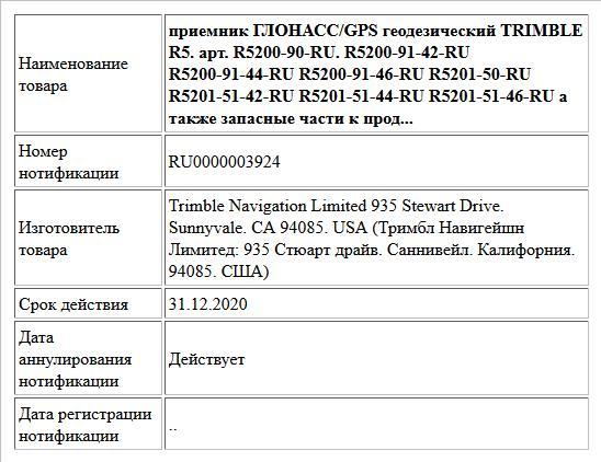 Приемник ГЛОНАСС/GPS геодезический TRIMBLE R5. арт. R5200-90-RU. R5200-91-42-RU R5200-91-44-RU R5200-91-46-RU R5201-50-RU R5201-51-42-RU R5201-51-44-RU R5201-51-46-RU а также запасные части к продукци...