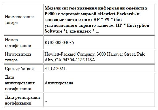 Модели систем хранения информации семейства Р9000 с торговой маркой «Hewlett-Packard» и запасные части к ним: HP * Р9 * (без установленного «крипто-ключа»: HP * Encryption Software *), где индекс * ...