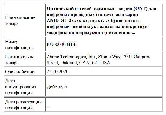 Оптический сетевой терминал – модем (ONT) для  цифровых проводных систем связи серии ZNID-GE-2xxxx-xx,  где xx…x буквенные и цифровые символы указывает на конкретную модификацию продукции (не влияя на...