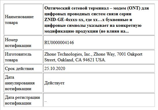 Оптический сетевой терминал – модем (ONT) для  цифровых проводных систем связи серии ZNID-GE-4xxxx-xx,  где xx…x буквенные и цифровые символы указывает на конкретную модификацию продукции (не влияя на...