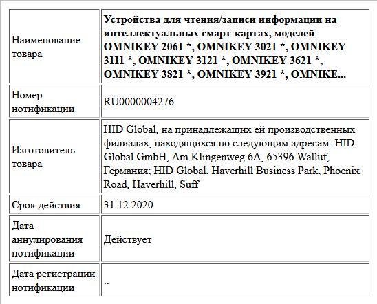 Устройства для чтения/записи информации на интеллектуальных смарт-картах, моделей OMNIKEY 2061 *, OMNIKEY 3021 *, OMNIKEY 3111 *, OMNIKEY 3121 *, OMNIKEY 3621 *, OMNIKEY 3821 *, OMNIKEY 3921 *, OMNIKE...