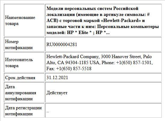 Модели персональных систем Российской локализации (имеющие в артикуле символы: # ACB) с торговой маркой «Hewlett-Packard» и запасные части к ним: Персональные компьютеры моделей: HP * Elite * ; HP *...