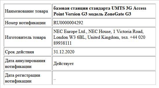 базовая станция стандарта UMTS 3G Access Point Version G3 модель ZoneGate G3