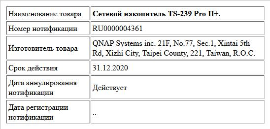 Сетевой накопитель TS-239 Pro II+.