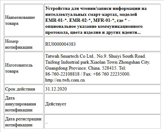 Устройства для чтения/записи информации на интеллектуальных смарт-картах, моделей EMR-01-*. EMR-02-*, MFR-01-*, где * - опциональное указание коммуникационного протокола, цвета изделия и других иденти...