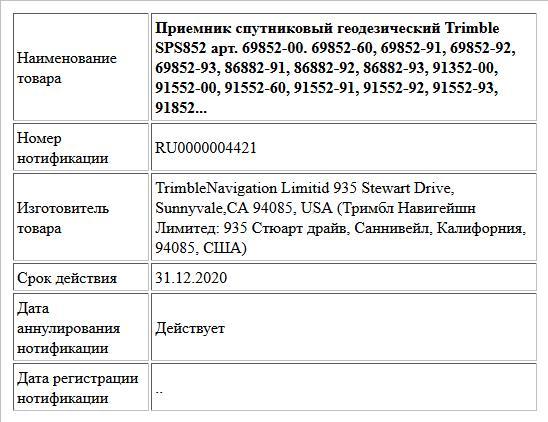 Приемник спутниковый геодезический Trimble SPS852 арт. 69852-00. 69852-60, 69852-91, 69852-92, 69852-93, 86882-91, 86882-92, 86882-93, 91352-00, 91552-00, 91552-60, 91552-91, 91552-92, 91552-93, 91852...