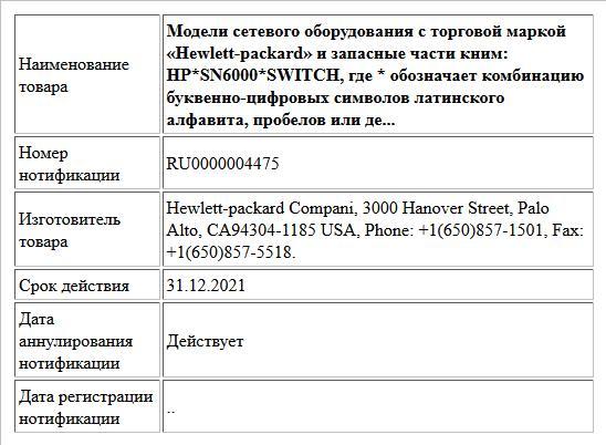 Модели сетевого оборудования с торговой маркой «Hewlett-packard»и запасные части кним: HP*SN6000*SWITCH, где * обозначает комбинацию буквенно-циыровых символов латинского алфавита, пробелов или дефи...