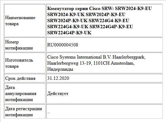 Коммутатор серии Cisco SRW: SRW2024-K9-EU SRW2024-K9-UK SRW2024P-K9-EU SRW2024P-K9-UK SRW224G4-K9-EU SRW224G4-K9-UK SRW224G4P-K9-EU SRW224G4P-K9-UK