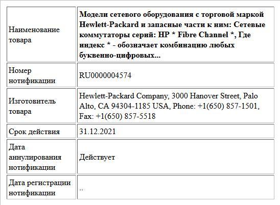 Модели сетевого оборудования с торговой маркой Hewlett-Packard и запасные части к ним: Cетевые коммутаторы серий:  HP * Fibre Channel *, Где индекс * - обозначает комбинацию любых буквенно-цифровых...