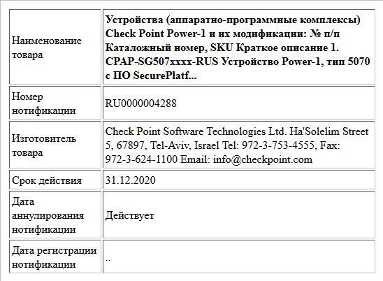 Устройства (аппаратно-программные комплексы) Check Point Power-1 и их модификации:   № п/п Каталожный номер, SKU Краткое описание  1. CPAP-SG507xxxx-RUS Устройство Power-1, тип 5070 с ПО SecurePlatf...