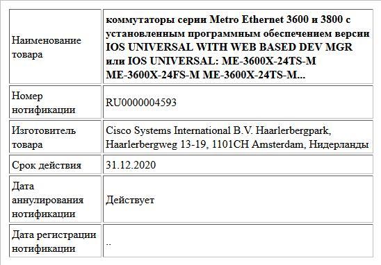 коммутаторы серии Metro Ethernet 3600 и 3800 с установленным программным обеспечением версии  IOS UNIVERSAL WITH WEB BASED DEV MGR или IOS UNIVERSAL: ME-3600X-24TS-M ME-3600X-24FS-M ME-3600X-24TS-M...