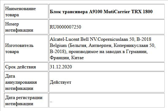 Блок трансивера А9100 MutiCarrier   TRX 1800