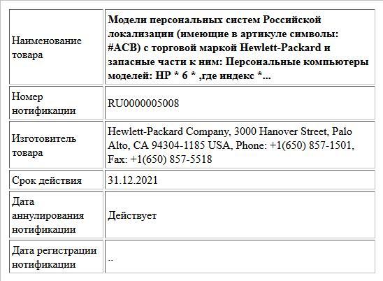 Модели персональных систем Российской локализации (имеющие в артикуле символы: #ACB) с торговой маркой  Hewlett-Packard и запасные части к ним: Персональные компьютеры моделей: HP * 6 * ,где индекс *...