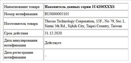 Накопитель данных серии 1U4200XXXS