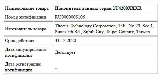 Накопитель данных серии 1U4200XXXR