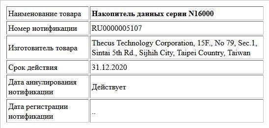 Накопитель данных серии N16000