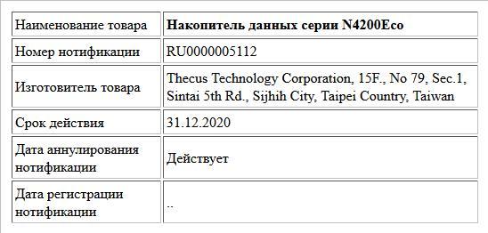 Накопитель данных серии N4200Eco