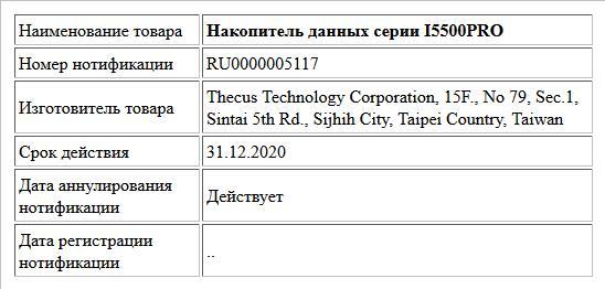 Накопитель данных серии I5500PRO