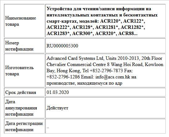 Устройства для чтения/записи информации на интеллектуальных контактных и бесконтактных смарт-картах, моделей: ACR120*, ACR122*, ACR1222*, ACR128*, ACR1281*, ACR1282*, ACR1283*, ACR300*, ACR320*, ACR88...