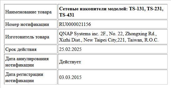 Сетевые накопители моделей: TS-131, TS-231, TS-431